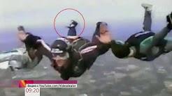 Парашютисты-экстремалы чуть не столкнулись с взлетающим самолетом