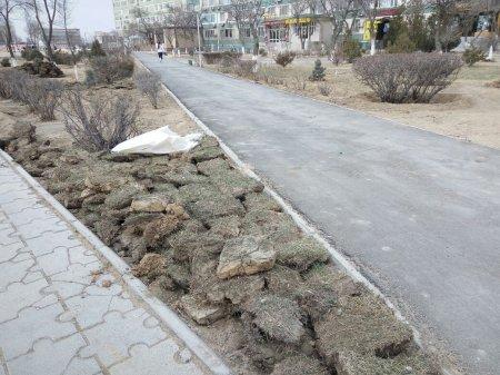 В 12 микрорайоне укладывают новый газон