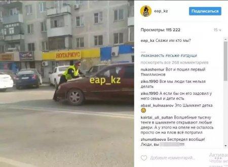 В Шымкенте водитель протащил полицейского на капоте машины