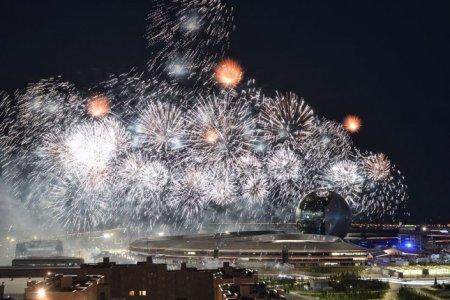 Световое шоу и грандиозный салют на открытии EXPO-2017 в Астане. Полное видео