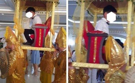 В Атырау мальчика носили на золотом троне за поступление в школу