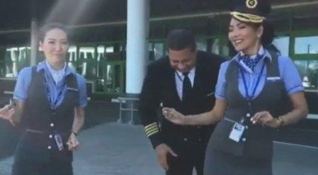 Танец казахстанских стюардесс c иностранным пилотом вызвал споры в соцсети