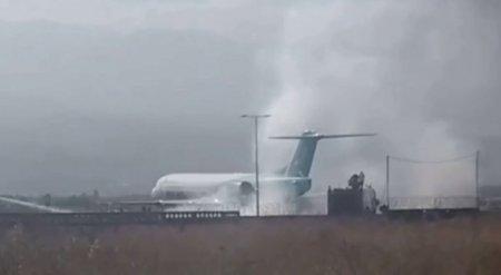 В Сети появилось видео тушения самолета близ аэропорта Алматы