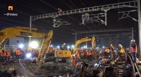 Китайцы построили железнодорожную развязку за девять часов. Невероятное видео