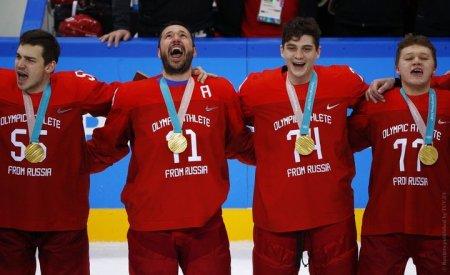 МОК прокомментировал пение гимна российскими хоккеистами после награждения на Олимпиаде