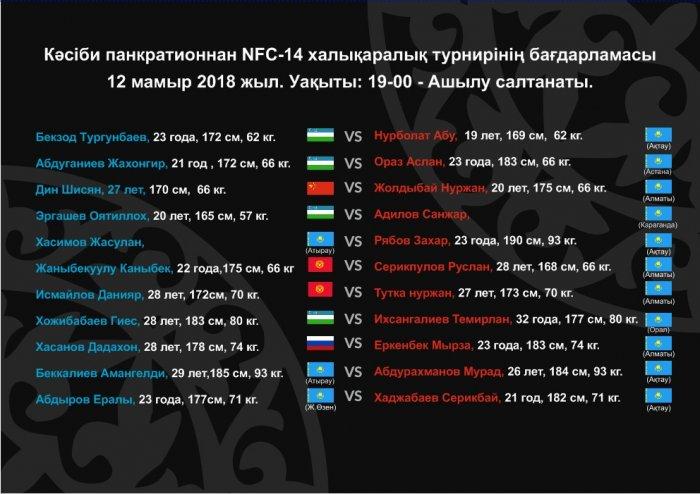 Международный турнир по боям без правил NFC-14 пройдет в Актау