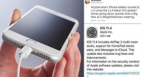 Владельцы iPhone жалуются на обновление, которое разряжает батарею за минуты