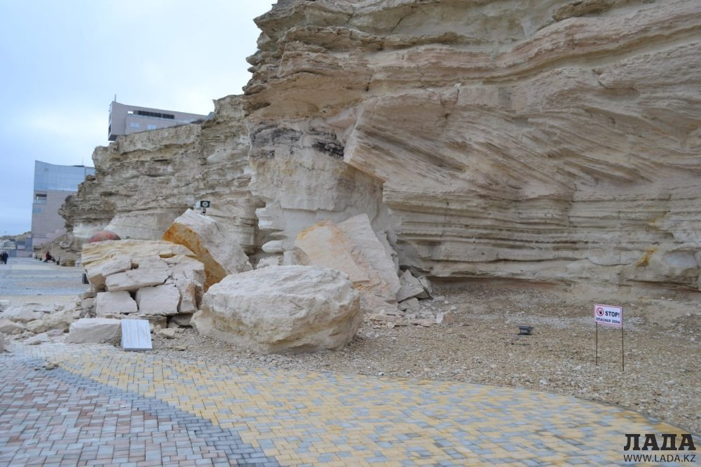 Каменный обвал произошел на Скальной тропе в Актау