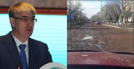 """Аким Балхаша принес извинения за """"растаявший"""" со снегом асфальт"""