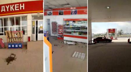 Видео разгромленной заправки в Арыси появилось в Сети