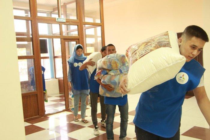 Молодёжь Мангистау собрала четыре тонны гуманитарного груза для жителей Арыси