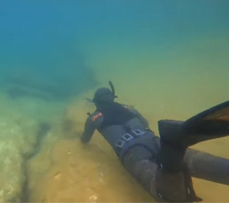 Подводная охота на кефаль в Каспийском море ВИДЕО