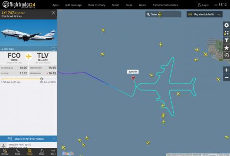 Последний Boeing 747 израильской авиакомпании нарисовал в небе сам себя