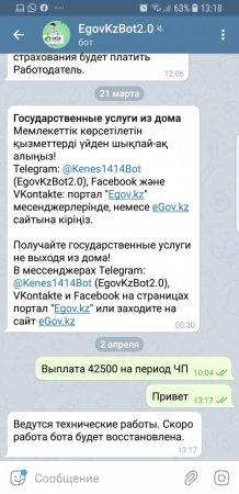 Казахстанцы пожаловались на неработающие сайт и Telegram-бот для получения 42 500 тенге