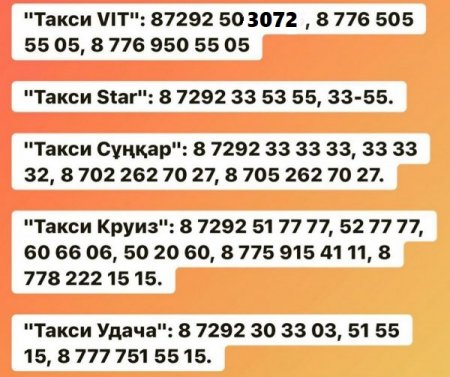 Список такси на время карантина опубликовал акимат Актау
