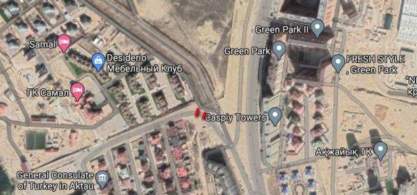 В 15 микрорайоне Актау перекрыли дорогу