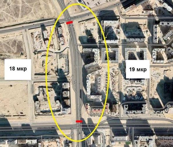 В Актау временно закрыли участок автомобильной дороги между 18 и 19 микрорайонами