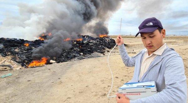 Повышенная концентрация загрязняющих веществ зафиксирована на месте пожара в пригороде Актау